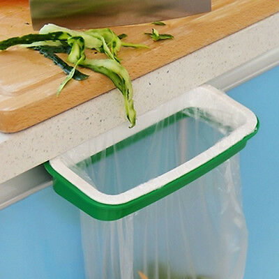 Green Kitchen Garbage Trash Bag Rack Attach Portable Holder Cabinet Cupboard
