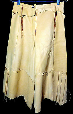 Vtg Leather Hippie Gaucho Pants High Waist Wide Leg Fringe Zip USA         UB1