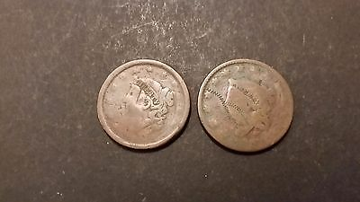 Two Dateless Coronet Head Large Cent Lot! Free Shipping!