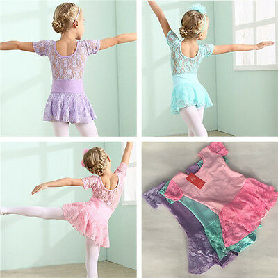 Girls Kid Leotard Ballet Dance Tutu Skirt Ballerina Fairy Dancewear Costume 3-9Y