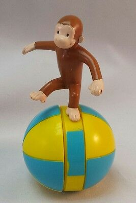 Curious George Balancing on Rolling Ball Figure TM & HMCO Toy Cake Topper RARE