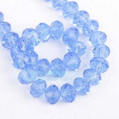 Fashion 100pcs 4x6mm Crystal glass Loose Beads-lightblue
