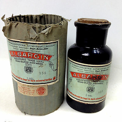Vintage APOTHECARY ALBARGIN BOTTLE 1 Oz Pharmacy