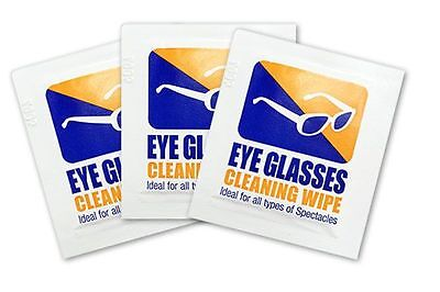 100 x Eyeglasses Cleaning Wipes pre moistened Spectacle Lens cleaner optical