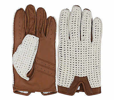 Men's Driving Gloves Real Leather Retro Classic Fashion Chauffeur Crochet Back