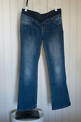 Denim Patch maternity boot cut jeans. GC. Size M