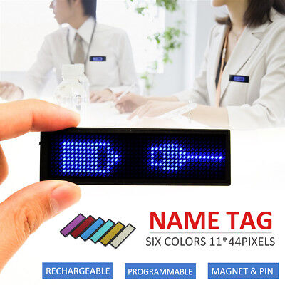 Meco LED Digital Scrolling Message Name Tag Badge Sign Programmable Rechargeable
