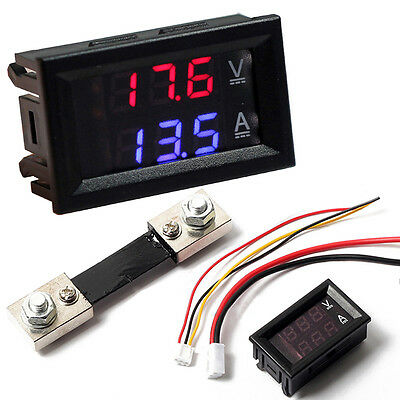 DC100V Digital Voltmeter Ammeter Blue Red LED Amp Volt Meter &100A Current Shunt