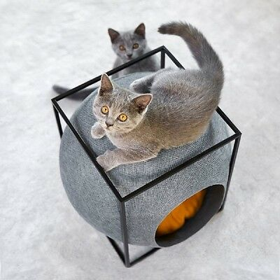 Cat Cube Bed Den Small Dogs Washable Cushion Scratching Round Stylish Designer