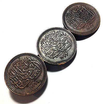 3 x Antique 1917 1/2 MILLIEME Egypt Bronze Coins Good Luck Broach Badge