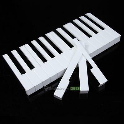 52Pcs White ABS Plastic Piano Keytops Kit with Fronts Replacement Key Tops White
