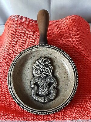 Vintage Nz Maori Tribal Warrior Pottery Wall Hanging With Wood Handle.  Unique!!