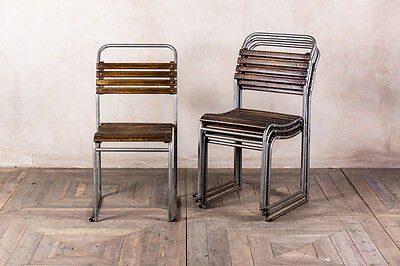Grey Metal Slatted Stacking Chairs Bar And Restaurant Seating Vintage Chairs