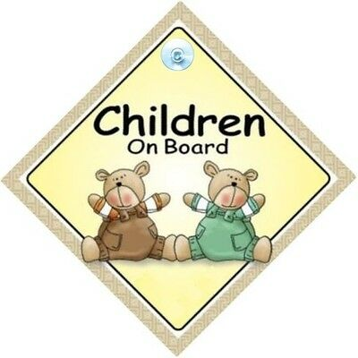 CHILDREN ON BOARD! - Two Bears - MADE IN AUSTRALIA - with Suction Cup FREE POST