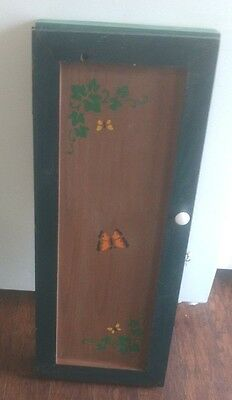 Vintage Rustic Green Handmade Wooden Craft / Household Cabinet w/ Butterflies