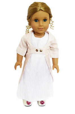 """Doll Clothes 18"""" Dress White Victorian Jacket Pink Fits American Girl Dolls"""