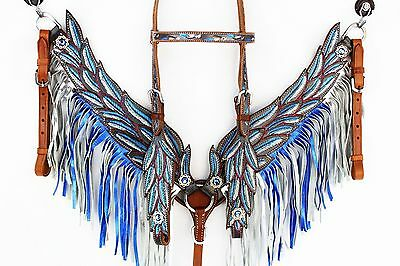 Blue angel wings bridle and breastplate set. cob/full