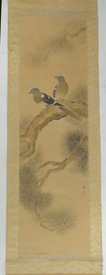 Antique Japanese Scroll Painting Birds in a Pine Tree Watercolor on Silk SIgned