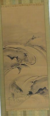 Antique Japanese Scroll Painting Carp Ink Watercolor Signed Seal