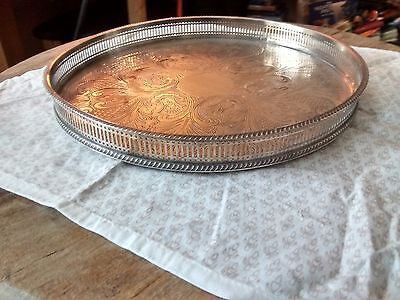 Sheffield Silver Plate on copper  Circular Tray