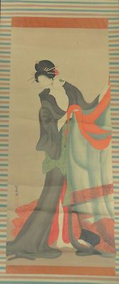Antique Japanese or Korean Scroll painting on Silk Lady Geisha