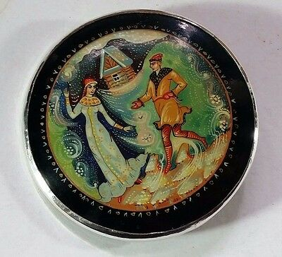 Large Vintage Silver Mounted Hand Painted Papier Mache Brooch Pendant