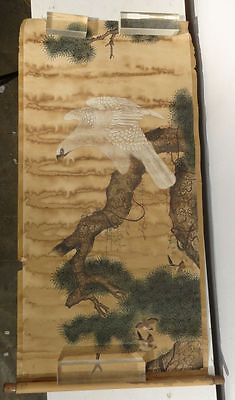 Antique Chinese Style Scroll Painting of a Falcon or Hawk Bad Staining As Is