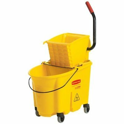 Combo Mop Bucket Wringer Press Commercial Cleaning Equipment Yellow Plastic New