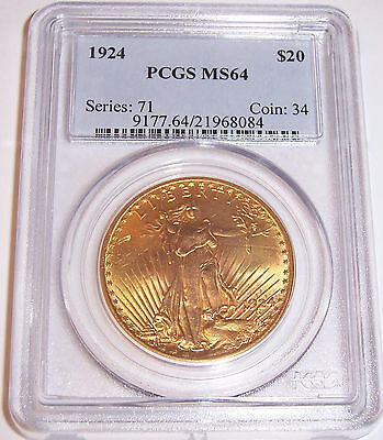 1924 $20 St Gaudens PCGS MS64 Uncirculated Choice Philadelphia Gold Double Eagle
