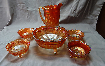"""Fenton carnival glass """"Butterfly& Berry"""" Marigold 6-Peice set Pitcher & Bowls"""