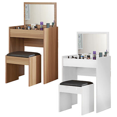 Sleek Stylish Multifunctional Dressing Table Organiser and Cushioned Stool Set
