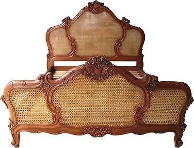 French Arch Rattan Bed Solid Mahogany & Rattan 5' King Size B006
