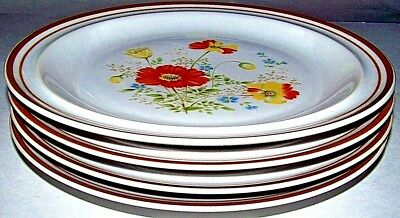 "LOT OF 4 DELIGHTFUL DAISY CAROLINE COLONIAL STONEWARE 10.5"" DINNER PLATES  Japan"
