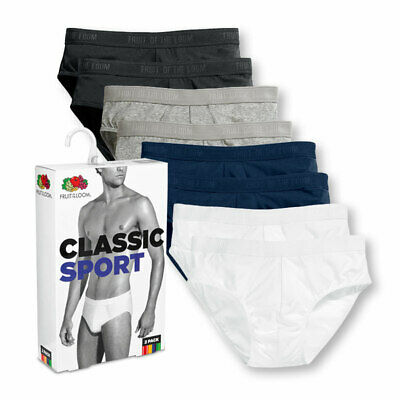 Fruit of the Loom 2 PAIRS BRIEFS SPORT UNDERWEAR COTTON SLIP PANTS COLOURS PACK