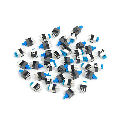 40x Push Button Blue Tactile Switches PCB DIP 1/4in Self Locking On/Off 6-Pin