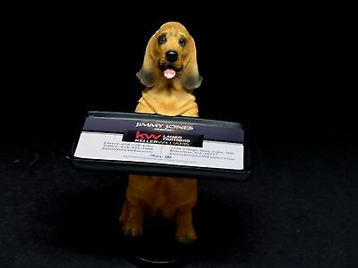 """Vintage Bloodhound Dog Business Card Holder Resin 5.5"""" Tall Excellent Condition"""