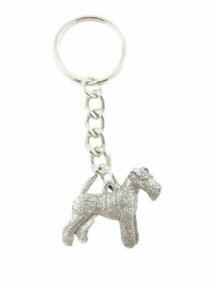 Wirehair Fox Terrier Keychain Silver Pewter Key Chain Ring
