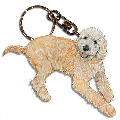 Labradoodle Keychain Key Ring Wooden
