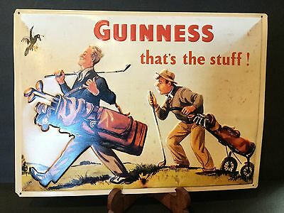 Guinness Golf Player Metal Tin Plate Sign Tin Sign Norm Rockwell (Style?)