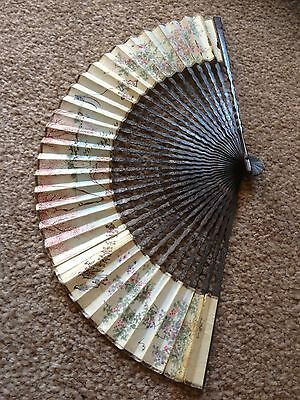 Beautiful Antique Hand Painted Oriental Fan.