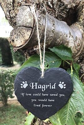Personalised Engraved Heart Shape Natural Slate Pet Memorial Tree Marker Plaque