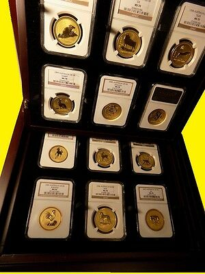 1996-2007 Australia Gold Lunar Set 12 Coins 12 Oz Pure Gold Ngc Ms 70 Series 1