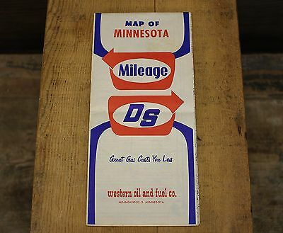 Vintage Milage/Direct Service/Zephyr Gas Station Map of Minnesota WESTERN OIL CO
