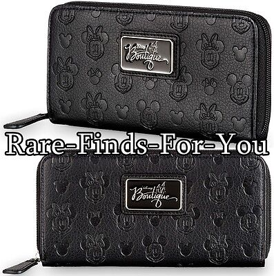 Disney Parks Mickey Minnie Mouse Boutique Collection Embossed Black Wallet (NEW)