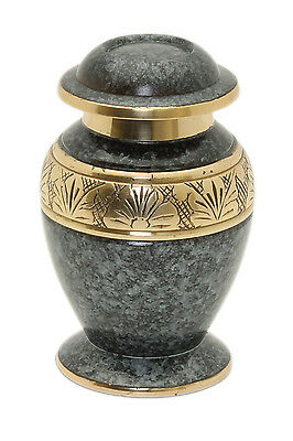 Mini Urn for ashes, Cremation Memorial Small Keepsake ash container, Grey & Gold