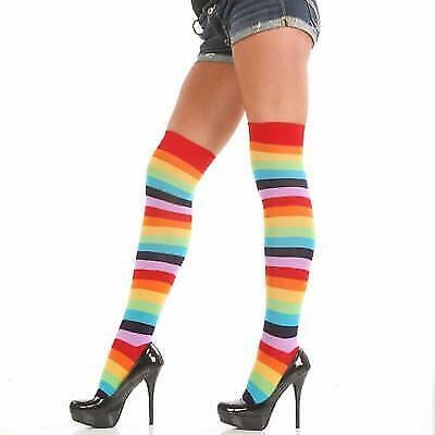 New Angelina 12 Pair Dozen Women's Premium Knee High Socks Rainbow Striped 6753