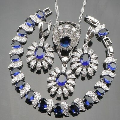 Hot Sale Blue Rhinestones White CZ 925 Sterling Silver Jewelry Sets For Women...