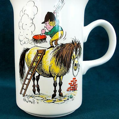 Vintage Norman Thelwell Fat Pony Grooming Staffordshire Tea Coffee Mug Cup 1967