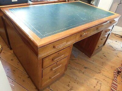 5x3ft Large Antique Georgian Style Partners Office Desk Green Leather Top