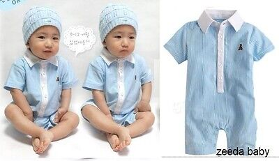 NEW Baby Gap Boy Polo Blue Strips Summer Bodysuit Romper Size 00.0.1.2
